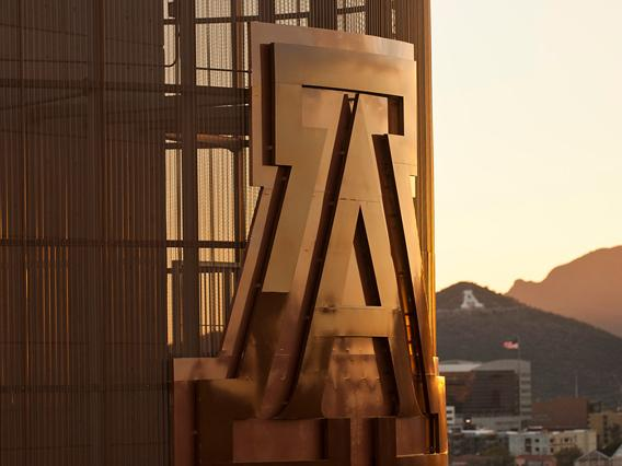 Letter A at the side of the building