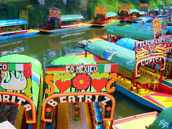 Colorful boats in Mexico