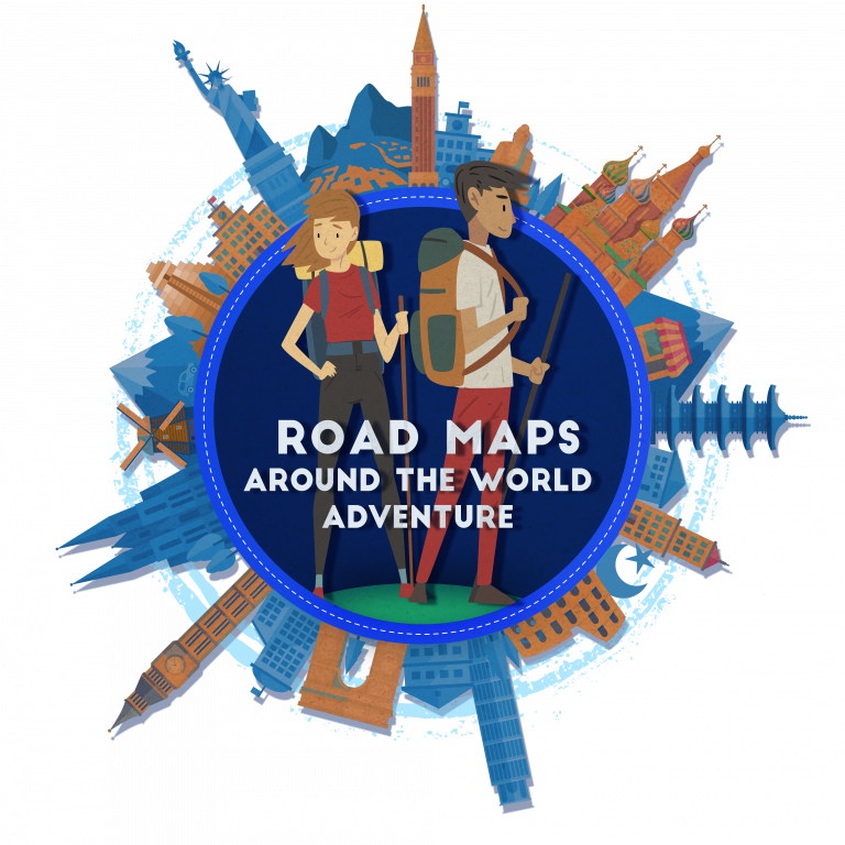 Road Maps logos that shows two teenagers with traveling backpacks surrounded by iconic locations from across the globe
